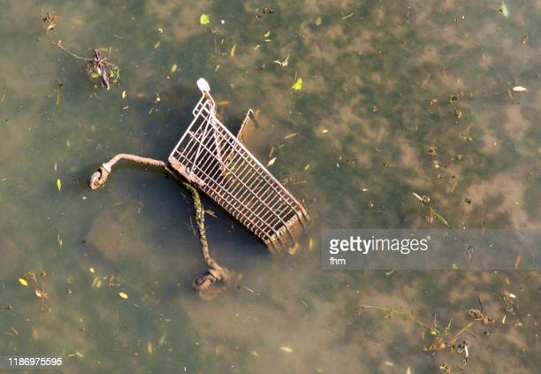 shopping cart in a dirty river - capitalism stock pictures, royalty-free photos & images
