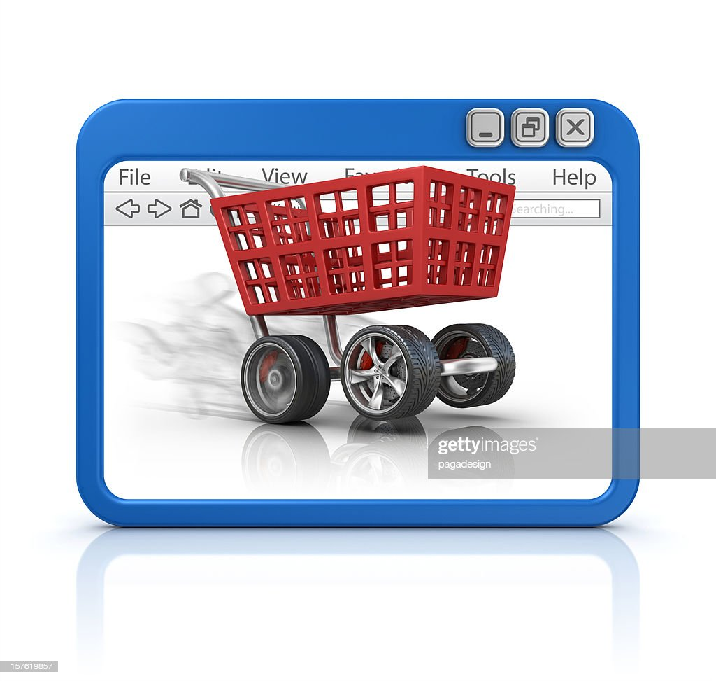 shopping cart in browser : Stock Photo