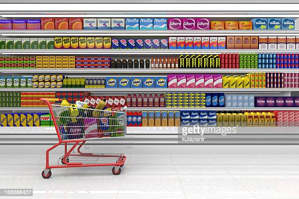 shopping cart in the supermarket. - for sale stock pictures, royalty-free photos & images
