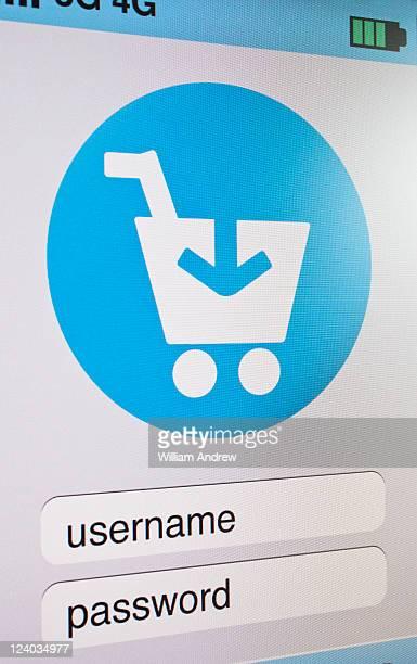 Shopping cart symbol on computer screen
