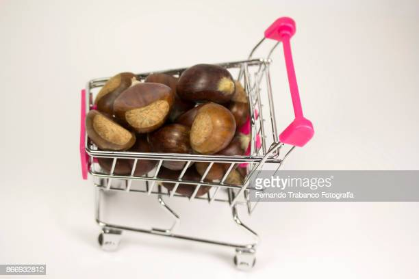 Shopping cart with chestnuts