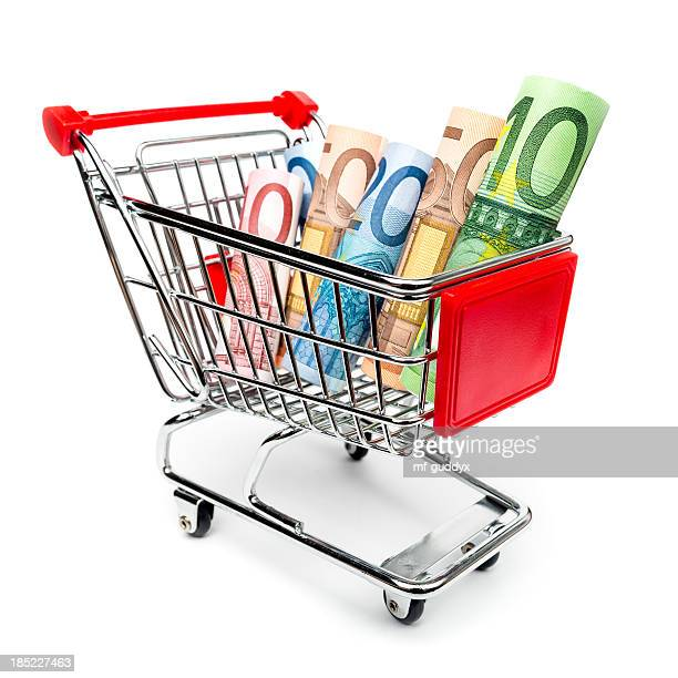 Shopping cart with money inside