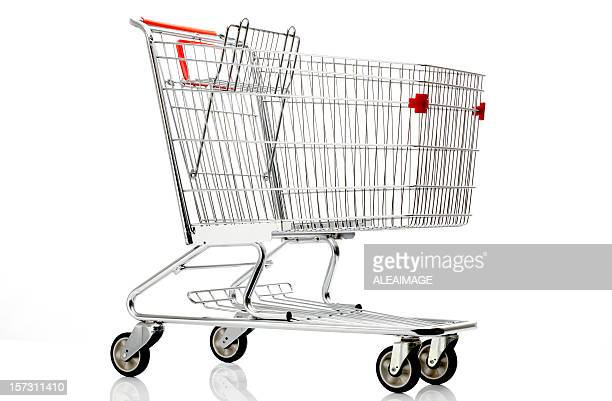 Shopping cart with red details on a white background
