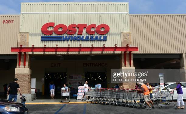 Shopping carts are collected outside a Costco store in Alhambra California on June 2 2013 Costco stores have been linked to a multistate outbreak of...