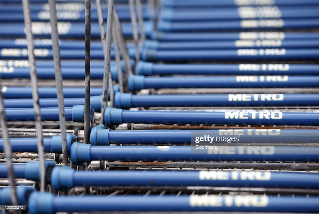 Shopping carts are stacked at a Metro AG supermarket in Shanghai, China, on Wednesday, May 19, 2010. Metro AG, Germany's largest retailer, plans to add 100 stores worldwide this year, the company said in a statement issued in Shanghai today. Photographer: Qilai Shen/Bloomberg via Getty Images