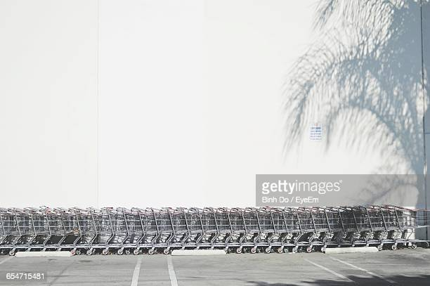 Shopping Carts Arranged Against White Wall