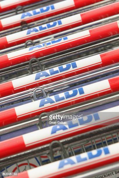 Shopping carts await customers at a branch of German discount supermarket chain Aldi on April 7 2008 in Berlin Germany Germany's biggest service...
