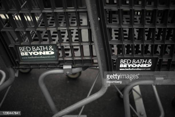 Shopping carts outside a Bed Bath & Beyond store in Louisville, Kentucky, U.S., on Saturday, Jan. 2, 2021. Bed Bath & Beyond Inc. Is scheduled to...