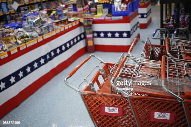 Shopping carts sit at a fireworks store in Muldraugh Kentucky US on Wednesday June 27 2018 According to the American Pyrotechnics Association the US...