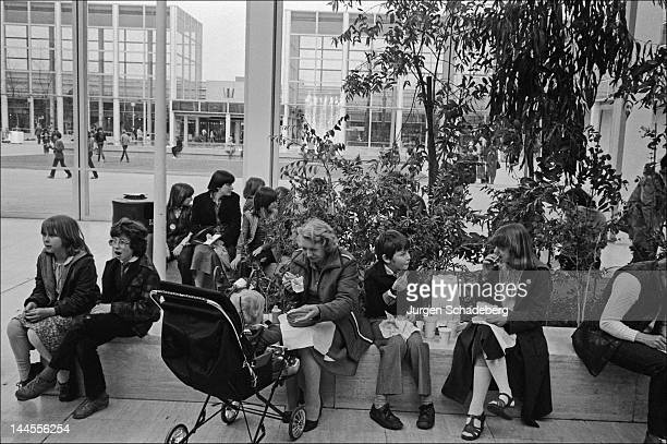 A shopping centre in the 'new town' of Milton Keynes in Buckinghamshire 1972