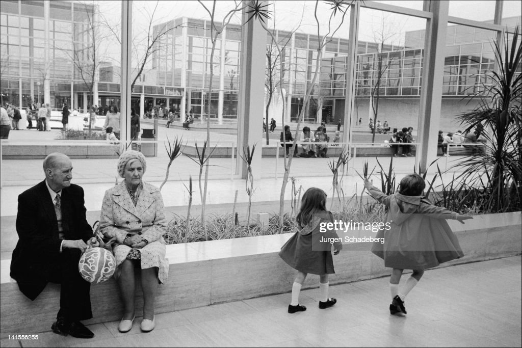 A shopping centre in the 'new town' of Milton Keynes in Buckinghamshire, 1972.