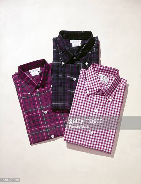 Christmas Gift Ideas View of DJ Anderson gingham buttondown shirts during photo shoot at The Country Store of FH Trumbull Concord MA CREDIT Richard...
