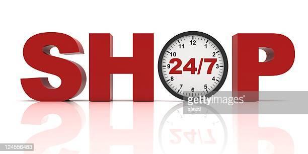 24 /7 のショッピングコンセプト - 24時間営業 ストックフォトと画像