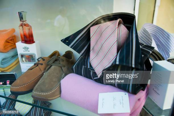 shopping display of men's fashion. - men stockfoto's en -beelden