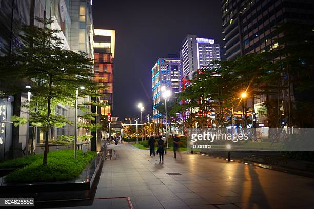 Shopping District at Night at Songgao Road Xinyi District (信義區松高路) in Taipei (台北) Taiwan (台湾)