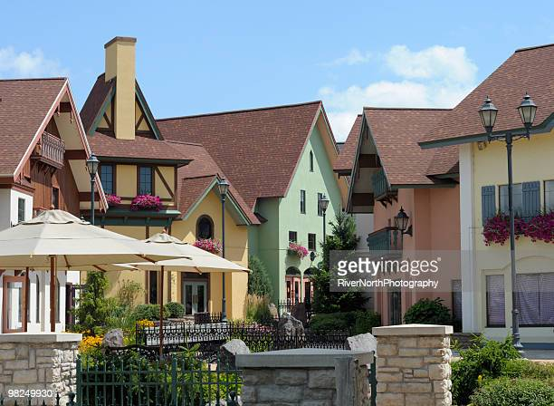 shopping district, frankenmuth, michigan - michigan stock pictures, royalty-free photos & images
