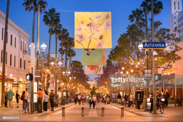 Shopping district in Santa Monica California USA