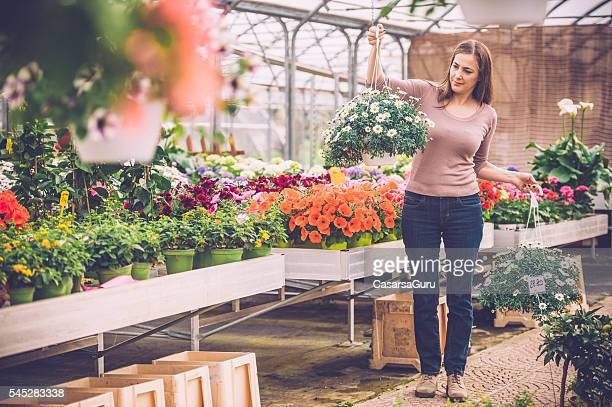 Shopping flowers in a Greenhouse