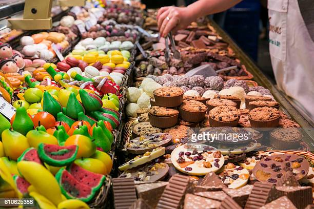 Shopping for Candies in Traditional La Boqueria Market, Barcelona, Spain