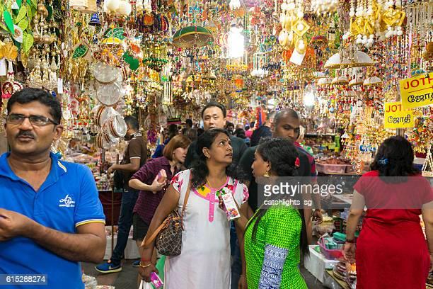 shopping for deepavali / diwali festive season. singapore - diwali stock photos and pictures
