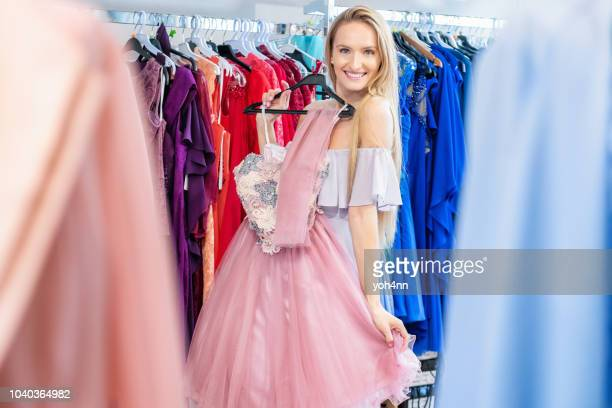 shopping for event dress - prom dress stock pictures, royalty-free photos & images