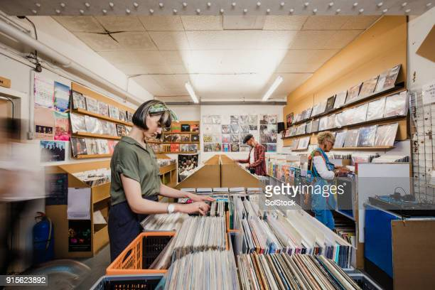 Shopping in a Vinyl Record Store