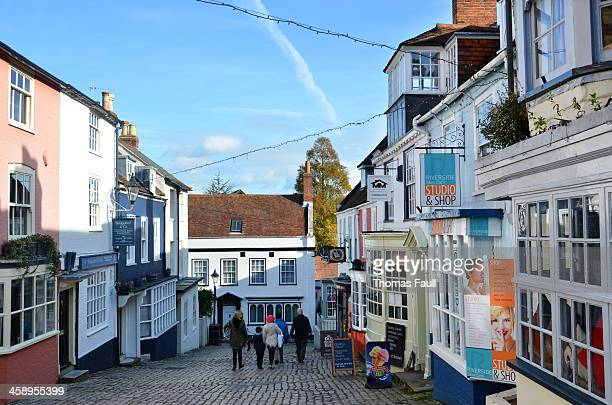 shopping in lymington - lymington stock photos and pictures