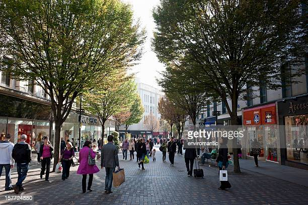 shopping in nottingham city centre. - nottingham stock photos and pictures