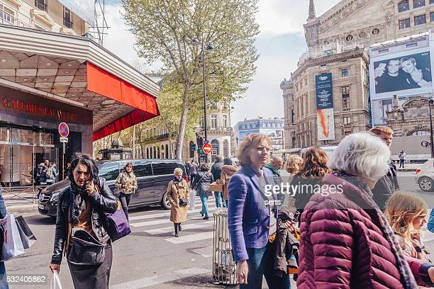 shopping in paris - galeries lafayette paris stock photos and pictures