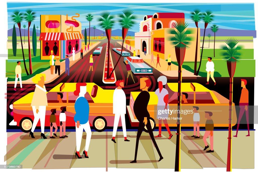 Shopping in Resort Town Illustration (Humor) : Stock Photo