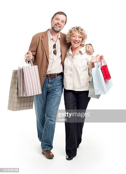shopping: mature couple walking