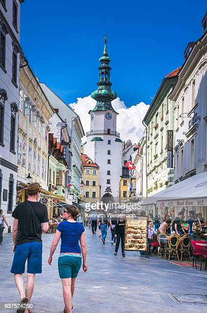 shopping on michalska street - bratislava stock pictures, royalty-free photos & images