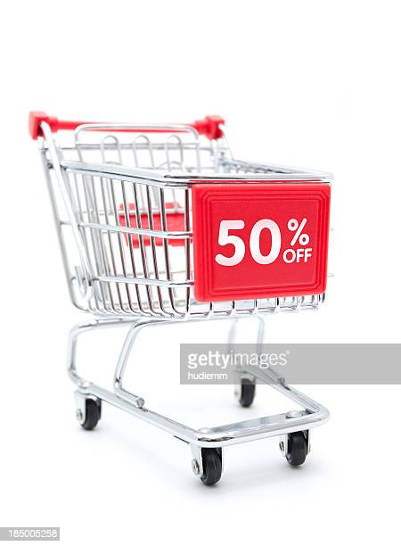 shopping sale - 50% discount with shopping cart isolated on white - shopping cart stock pictures, royalty-free photos & images