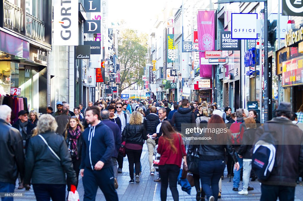 shopping scene in hohe strasse of cologne stock photo