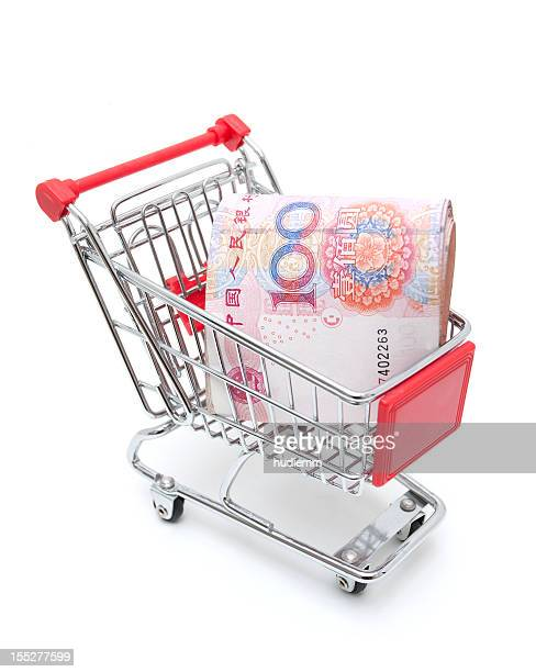 shopping! shopping cart isolated on white background - bringing home the bacon stock pictures, royalty-free photos & images