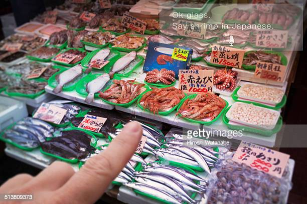 Shopping shrimps with checking list by smart glass