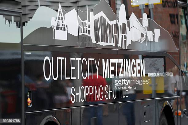 A shopping shuttle bus is pictured at Outletcity Metzingen on August 19 2016 in Metzingen Germany Metzingen is famous for its factory outlets...