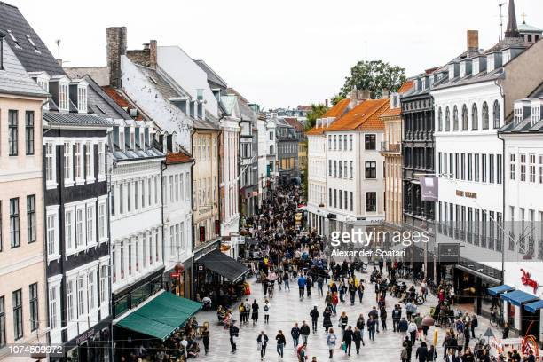 shopping street and town square aerial view, copenhagen, denmark - pedestrian zone stock pictures, royalty-free photos & images
