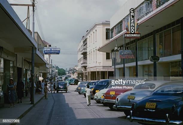 Shopping street in Barranquilla, Colombia, South America, circa 1960.