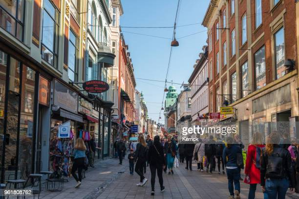 shopping street in copenhagen denmark - high up stock photos and pictures