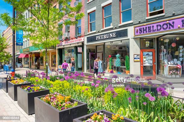 shopping street in downtown ithaca new york state usa - finger lakes stock pictures, royalty-free photos & images