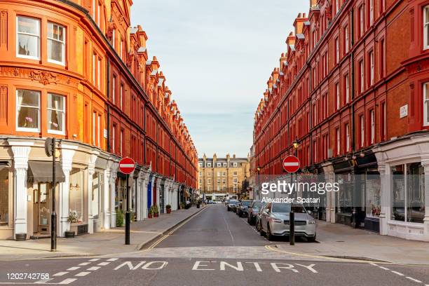 shopping street in marylebone district, london, uk - high street stock pictures, royalty-free photos & images
