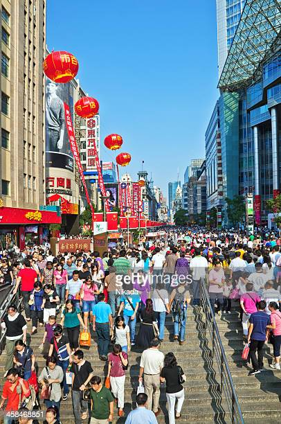 shopping street in shanghai - nanjing road stock pictures, royalty-free photos & images