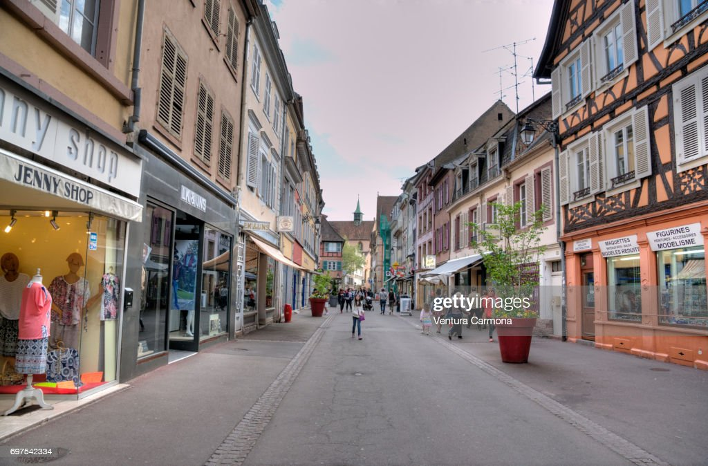 new styles a1817 9de2f Shopping Street In The Old Town Of Colmar France High-Res ...