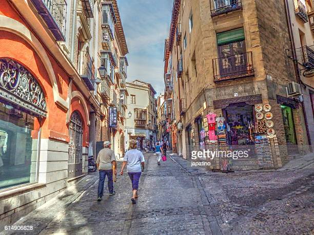 shopping street in the old town of historical and touristic city of Toledo