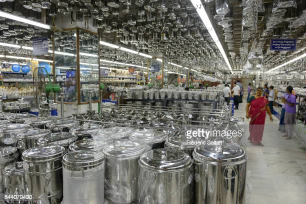 Shopping street in Tiruchirappalli in the Indian state of Tamil Naduaffluence on February 20 2016 in India