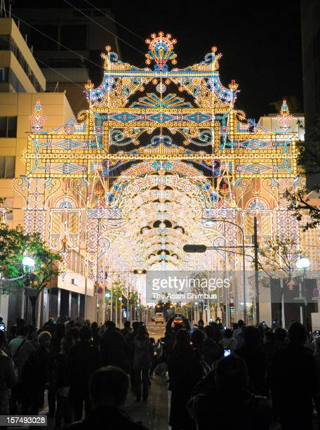 A shopping street is illuminated as a part of the 18th Kobe Luminarie on December 3 2012 in Kobe Hyogo Japan The annual illumination event begun in...