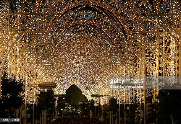A shopping street is illuminated as a part of the 19th Kobe Luminarie on December 5 2013 in Kobe Japan The annual illumination event which began in...