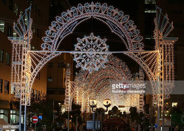 A shopping street is illuminated as part of the 19th Kobe Luminarie on December 5 2013 in Kobe Japan The annual illumination event which began in...