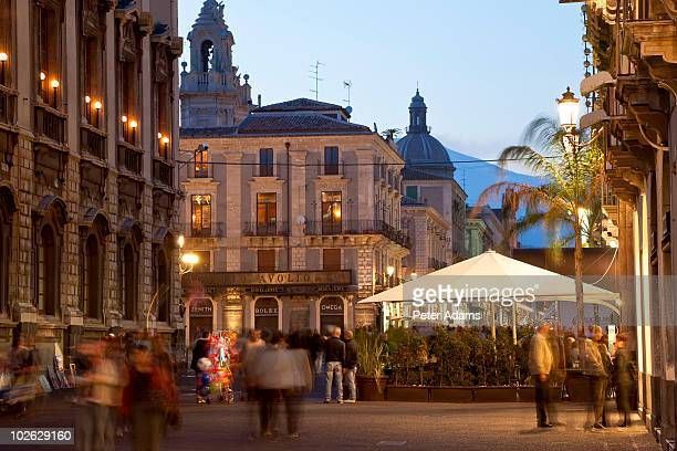 shopping street off piazza duomo, catania, italy - catania stock pictures, royalty-free photos & images